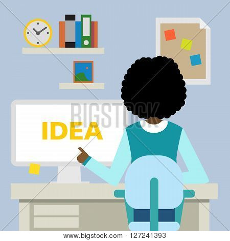 African american woman sitting in the office with idea.