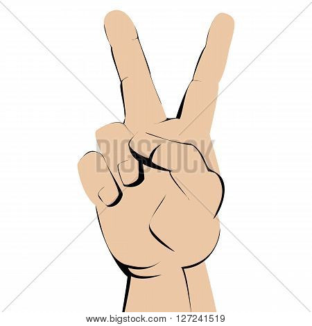 V gesture on a white background. vector