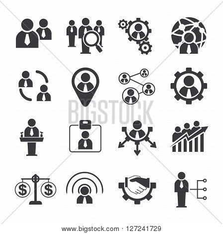 set of 16 business and human resource icons