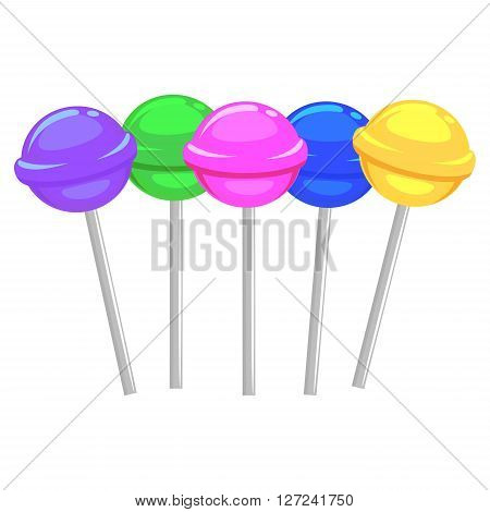 Vector Illustration of Different Colorful Candy Lollipop