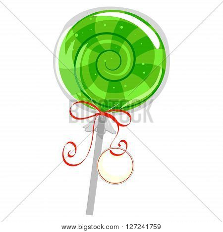 Vector Illustration of Green Lollipop with Wrapper and Tag