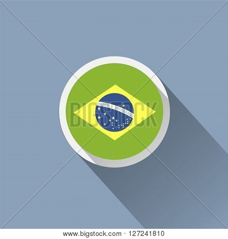 Brazil flag button icon. Vector illustration. Symbol of Brazil.
