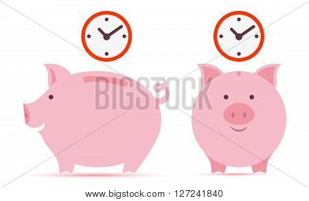 Piggy bank with time saving. on white
