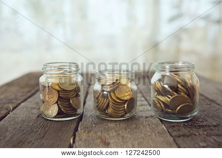 Glass Jars With Money Coins Ruble