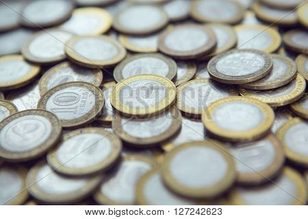 Background Of Many Different Coins Rubles