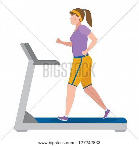 Girl running on treadmill on a white.