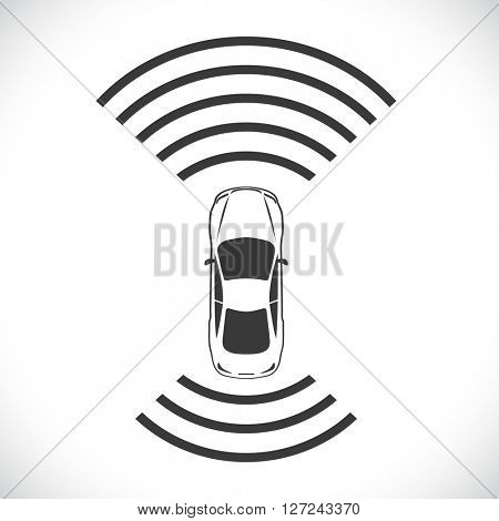 Driverless robotic car shape concept vector illustration.