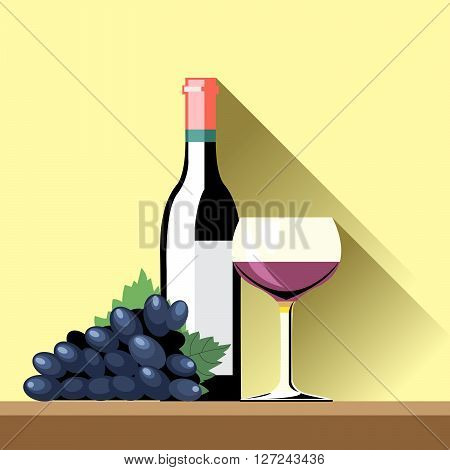 A glass and bottle of red whine and a blue ripe grape with green leafes on a brown surface and a yellow background, digital vector image