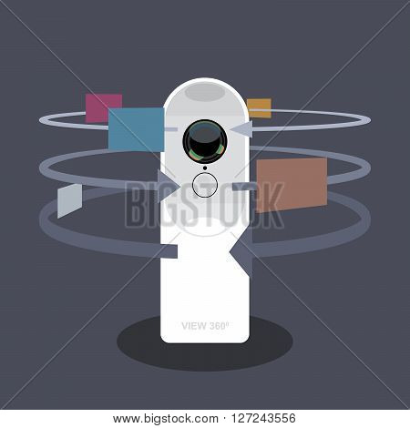 A white 360 degree camera video recorder with apps and functions icons, digital vector image