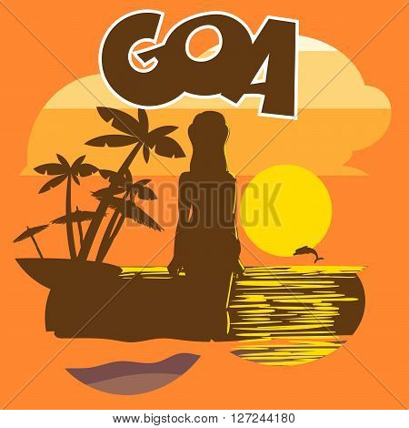 Goa beach flyer with a woman silhouette, palms and a dolphin at sunset, digital vector image