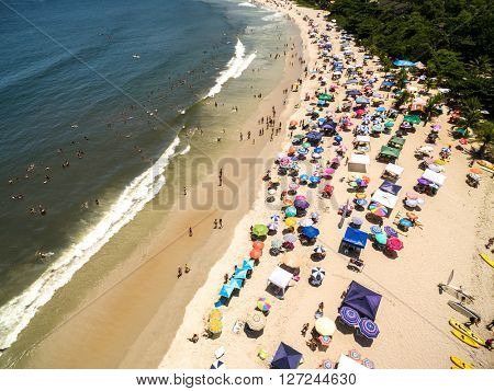 Aerial view of Litoral Norte in Sao Paulo, Brazil