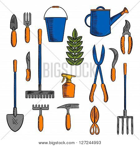 Colorful retro sketches of hand tools for farming and gardening with spade, rake, pitchfork, bucket and watering can, scissors, knife, shears, trowel, forks, sikle, spray bottle and green plant