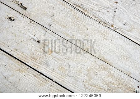 Old wooden board painted white. diagonal shoot