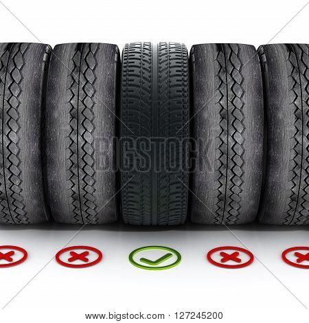 New car tire with green check mark standing out among old tires.