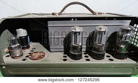 Vintage green tube Valve Amplifier. old electronic
