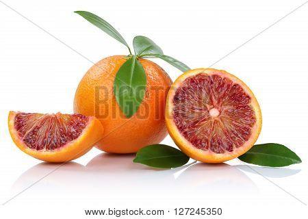 Blood Orange Fruit Oranges Slice Slices With Leaves Isolated On White