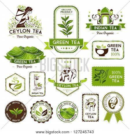 Green, indian and ceylon tea labels, badges and banners. Tea decorative elements for package design