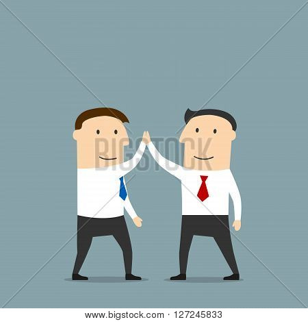 Excited cartoon business partners are doing a high five, congratulating each other with successful deal. Use as partnership, team work, goal achievement, celebration concept design