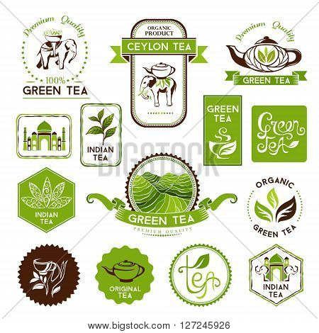 Green and ceylon tea labels, badges and banners. Tea decorative elements for package design