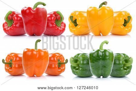 Collection Of Fresh Bell Pepper Peppers Paprika Paprikas Isolated On White
