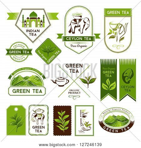Green and ceylon tea labels and stickers. Tea decorative elements for package design