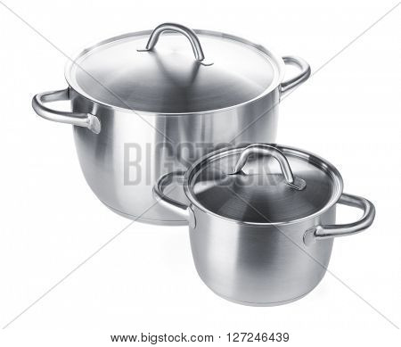 Two stainless steel pots. Isolated on white background