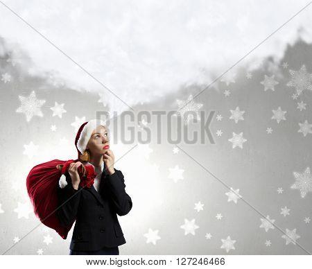 Thoughtful Santa woman