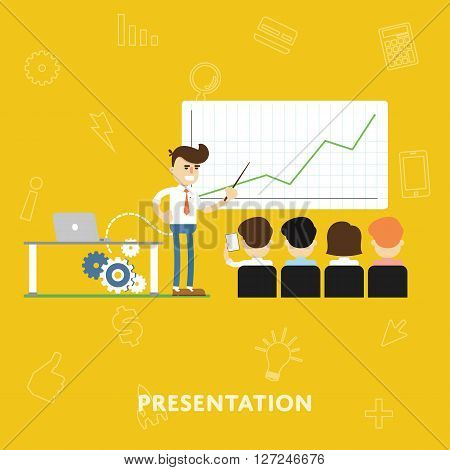 Man explains of the results chart shows to investors and partners in business concept presentation flat abstract isolated vector illustration