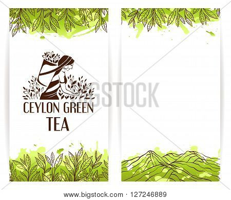 Green tea banner template with ceylon tea picker logo.