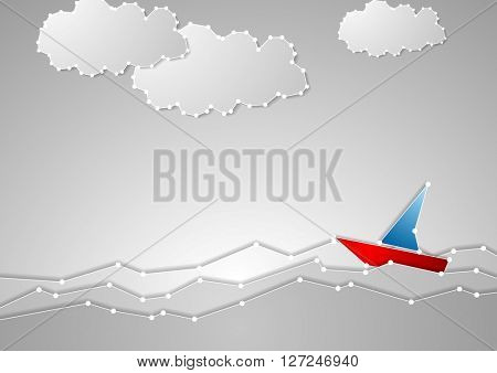 Bright sailboat on grey seascape. Tech schematic style. Vector background