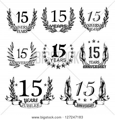 15th anniversary emblems set. Collection of hand drawn anniversary signs with wreath. Celebration badges in sketch style.