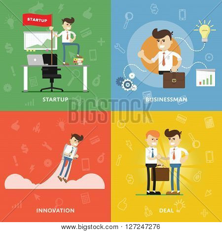 Start a new business with innovation and conclude business deals concept of entrepreneurship and startup flat abstract isolated vector banners