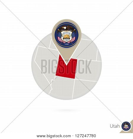 Utah Us State Map And Flag In Circle. Map Of Utah, Utah Flag Pin. Map Of Utah In The Style Of The Gl