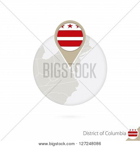 District Of Columbia Us State Map And Flag In Circle.