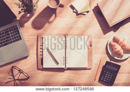 Empty business planner on desk of  entrepreneur