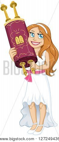 Vector illustration of a Jewish girl holds the Torah for Bat Mitzvah.
