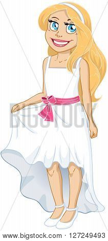 Vector illustration of a pretty girl in white dress.