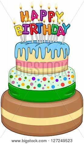 Vector illustration of 3 floors birthday cake with Happy Birthday text and candles on top.