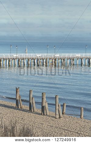 Wooden walking sea Gdynia Orlowo Pier with old foundation piles on coast in Baltic Poland