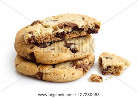 Stack Of Three Light Chocolate Chip Cookies Isolated. One Broken With Crumbs.