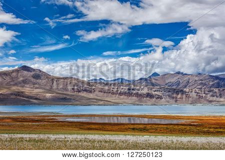 Tso Kar - mountain salt lake in Himalayas. Rapshu,  Ladakh, Jammu and Kashmir, India