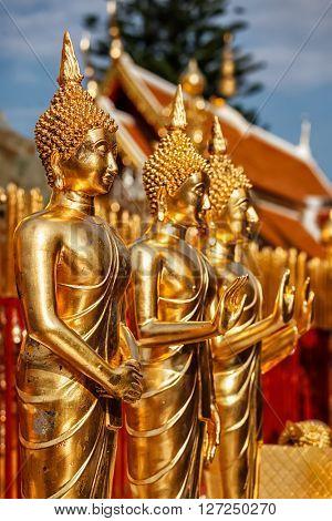 Buddha statues in Wat Phra That Doi Suthep, Chiang Mai, Thailand