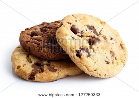 Light and dark chocolate chip cookies isolated on white. In perspective.