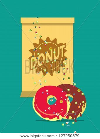 vector illustration of Glazed donuts package for breakfast