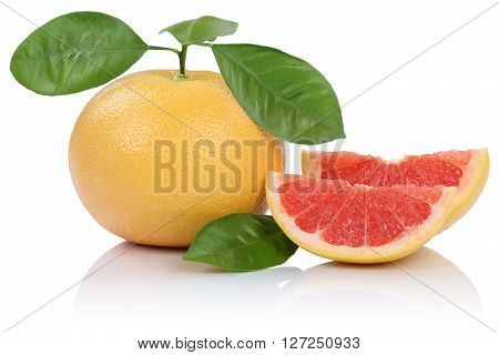 Grapefruit Fruit Slice Slices With Leaves Isolated On White