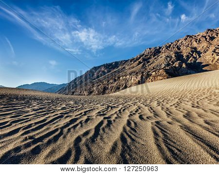 Sand dunes in Nubra valley in Himalayas. Hunder, Nubra valley, Ladakh
