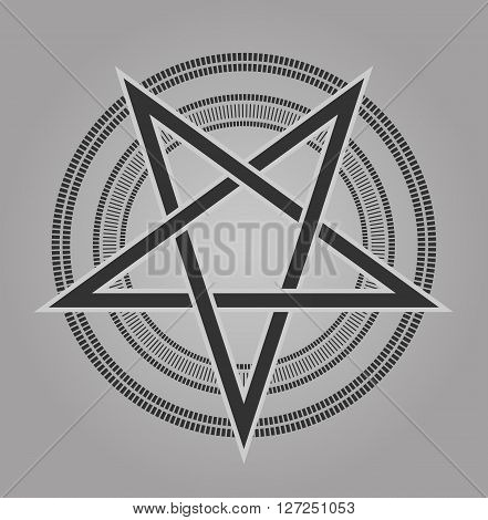 vector design pentagram signs five-pointed star in shades of gray vintage