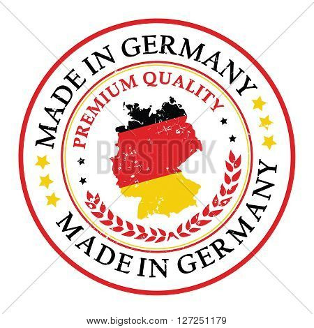 Made in Germany grunge printable label. Grunge label - Made in Germany, with German flag colors and map. CMYK colors used.