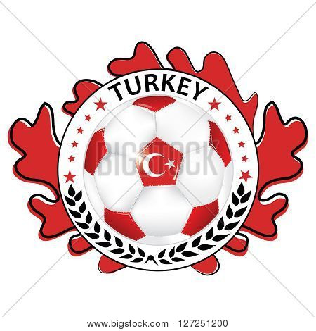 Soccer printable label with flag of Turkey. Printable Turkey soccer label, containing a soccer ball and Turkish flag. Print colors used