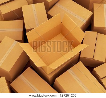 Cardboard boxes background . 3d illustration .